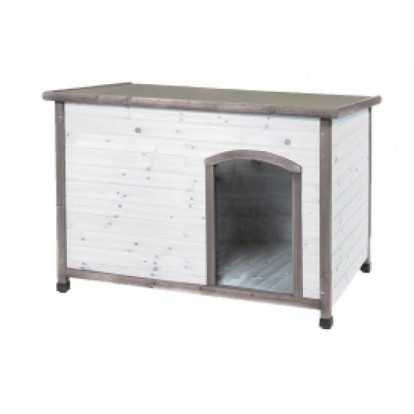 Σπίτι σκύλου ξύλινο, λευκό γκρι 85 x 58 x 58 cm